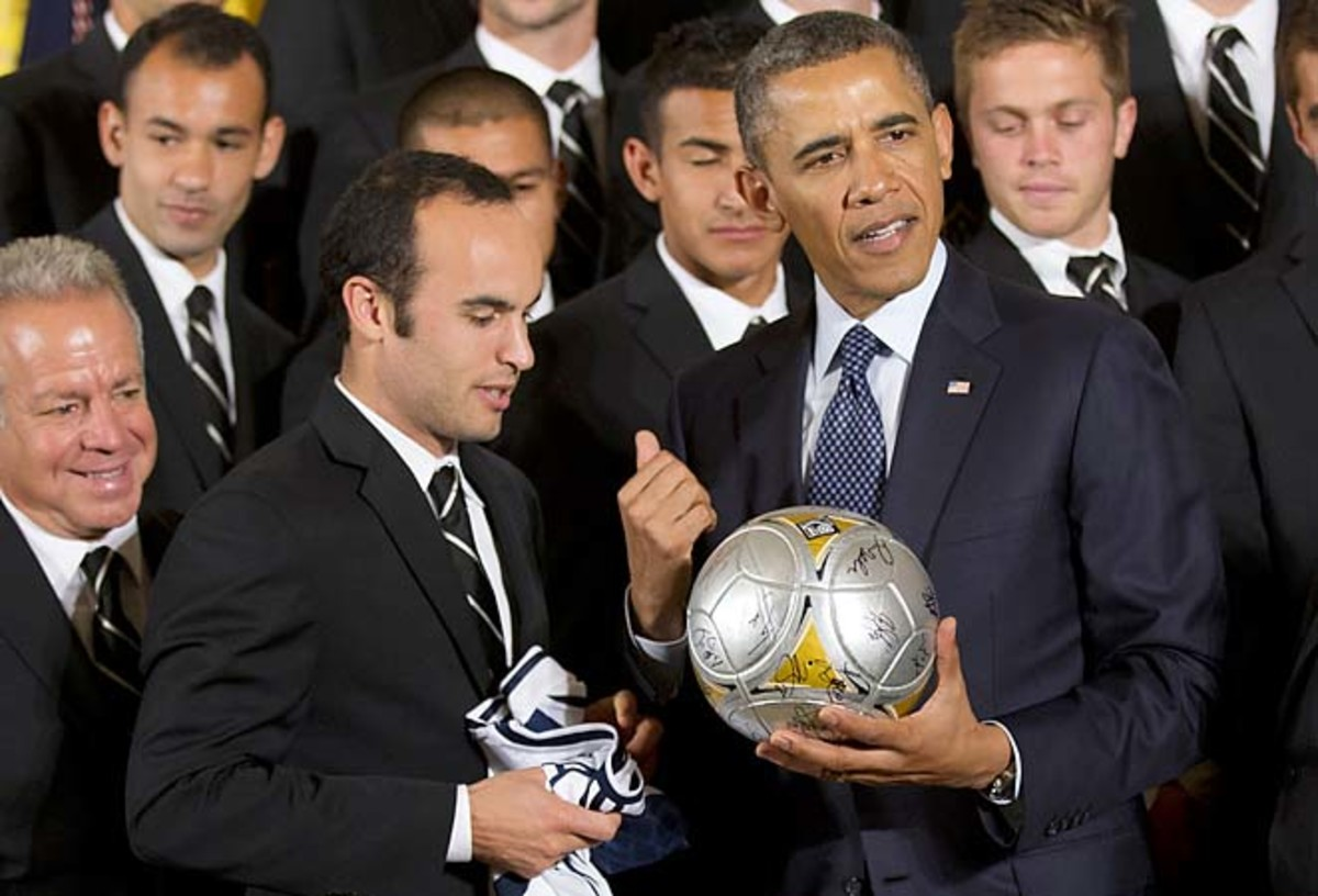 Landon Donovan and the Los Angeles Galaxy met President Obama at the White House on Tuesday.