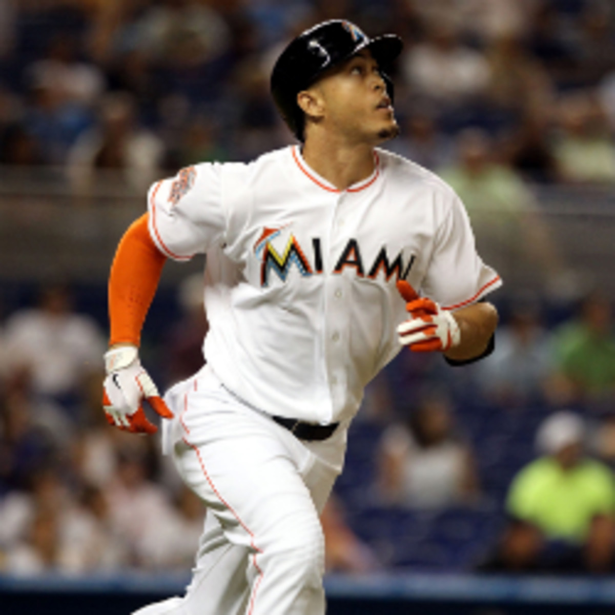 Marlins owner Jeffrey Loria said the team will not discuss a contract extension with slugger Giancarlo Stanton this season. (Marc Serota/Getty Images)
