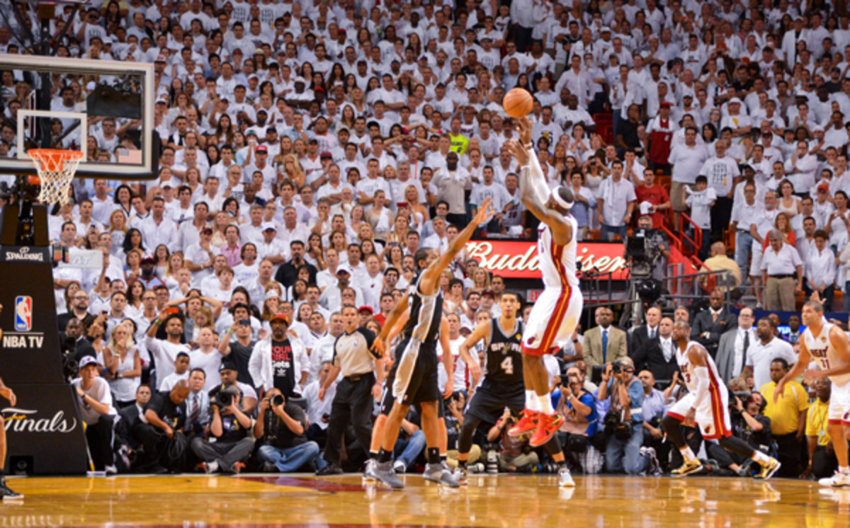 A reverse angle of LeBron James' signature shot in Game 7 of the Finals.