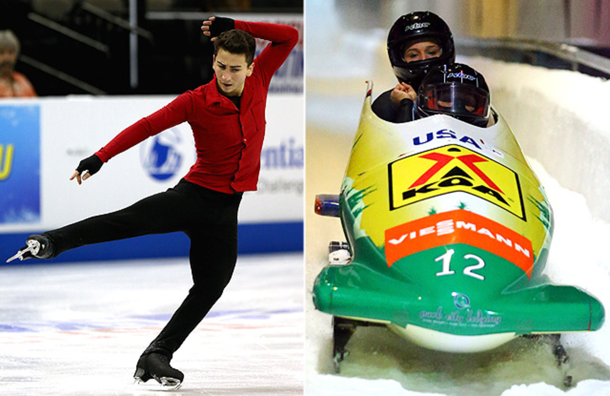 Americans Max Aaron and Lolo Jones (back of bobsled) both won titles in their respective sports this weekend.