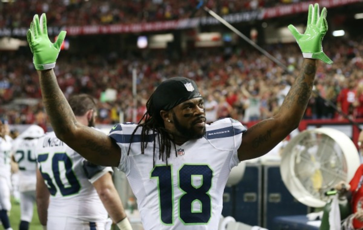 Sidney Rice reporteldy needed crutches following the Seahawks' playoff loss to Atlanta in January. (Streeter Lecka/Getty Images)