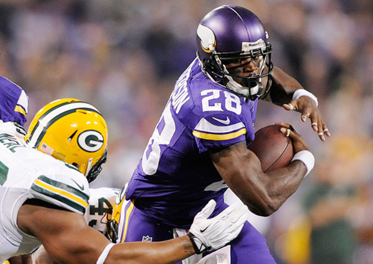 Adrian Peterson will play through a groin injury Sunday against the Packers.