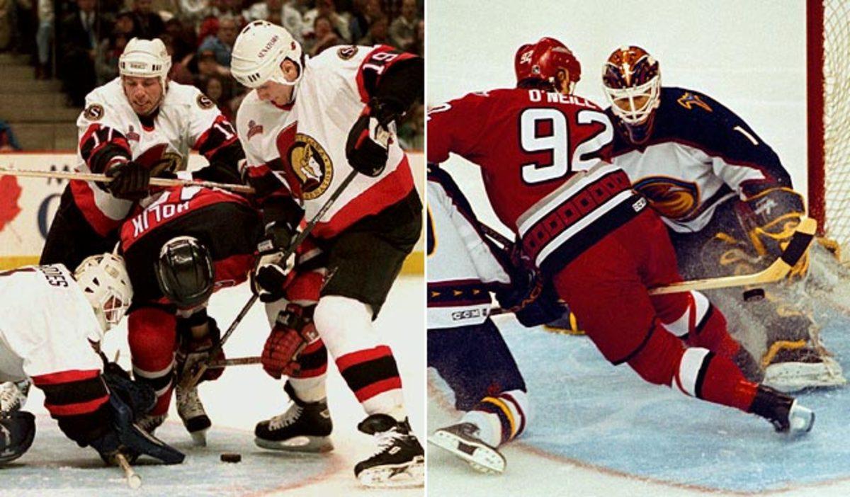 1995-96 Ottawa Senators &<br> 1999-00 Atlanta Thrashers