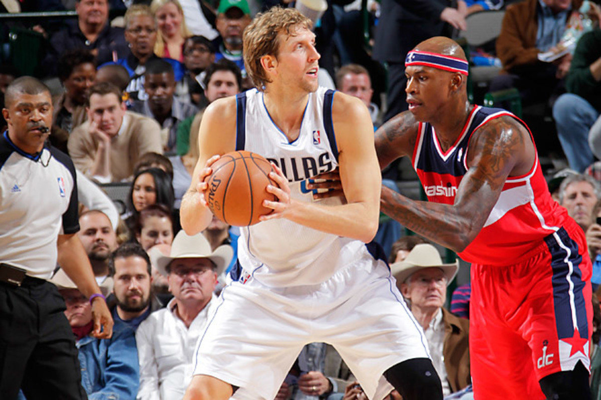 Dirk Nowitzki made consecutive 3-pointers against Washington to reach 25,194 points, two ahead of West.