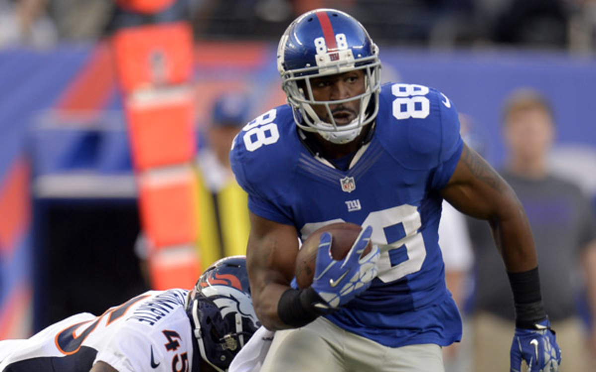 Giants wideout Hakeen Nicks has only nine catches through three games. (John Leyba/The Denver Post via Getty Images)
