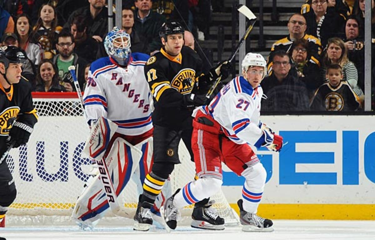 Milan Lucic and the Boston Bruins take on Henrik Lundqvist and the New York Rangers in the second round of the NHL playoffs.