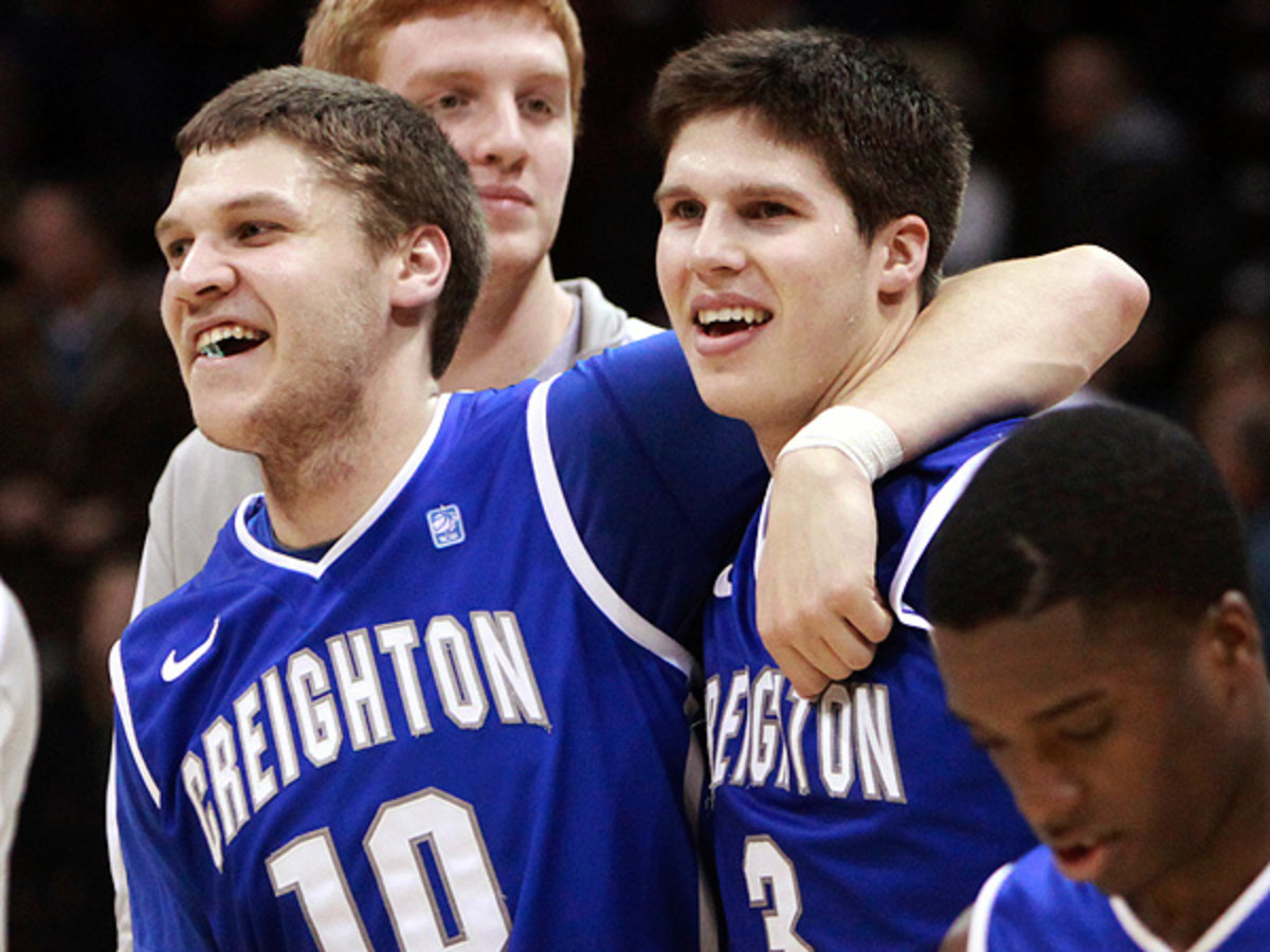 Grant Gibbs (left) was given a sixth year of eligibility and will join Doug McDermott back on Creighton's roster this season. (Mark Schiefelbein/AP)