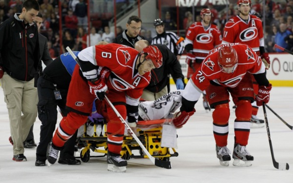 Joni Pitkanen's injury was one of the reason for the new rule of hybrid icing. (Chris Seward/Raleigh News & Observer/MCT via Getty Images)
