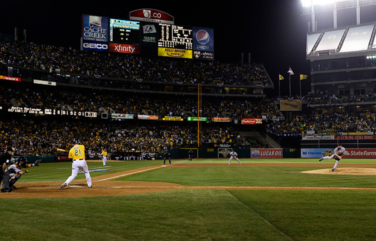 Justin Verlander held the A's to two hits and struck out 10 in guiding the Tigers to a 3-0 Game 5 win.