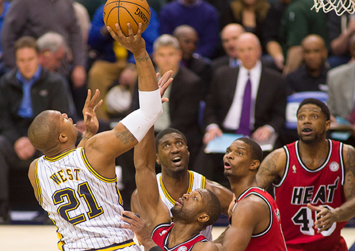 David West averaged 22.7 points and 7.7 rebounds on 65.8 percent shooting in three games against the Heat this season.