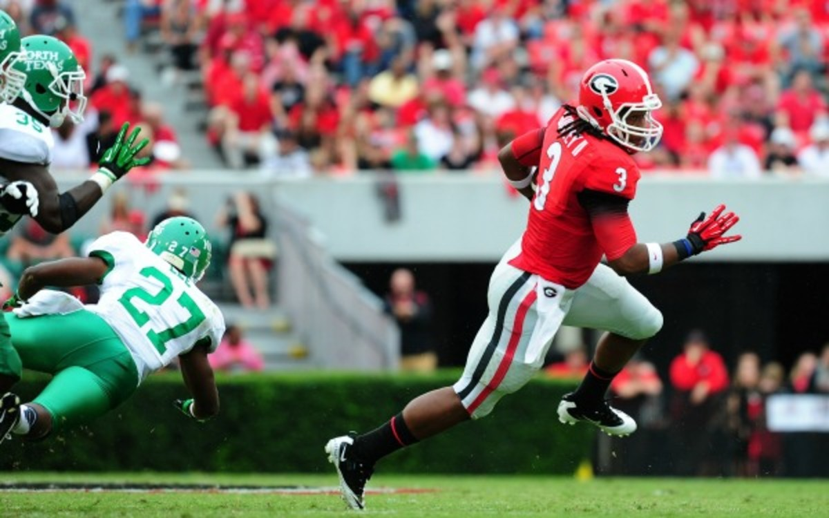 Georgia's running back Todd Gurley exited Saturday's game early with a sprained left ankle. (Scott Cunningham/Getty Images)
