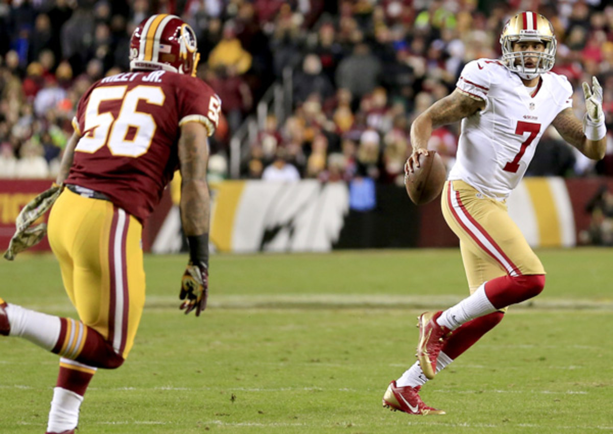 Colin Kaepernick threw for 235 yards and three touchdowns as the 49ers moved to 7-4.