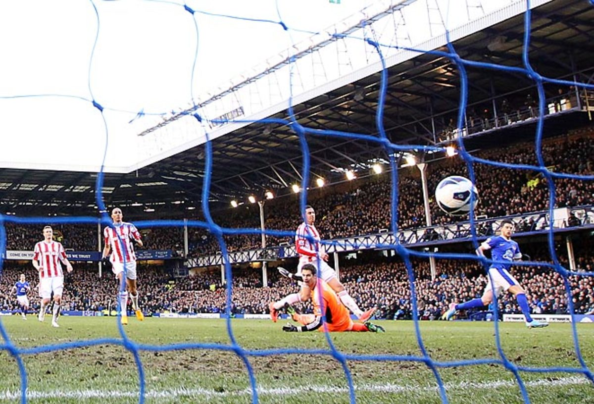 Everton's Kevin Mirallas puts the finishing touch on the winning goal against Stoke on Saturday.