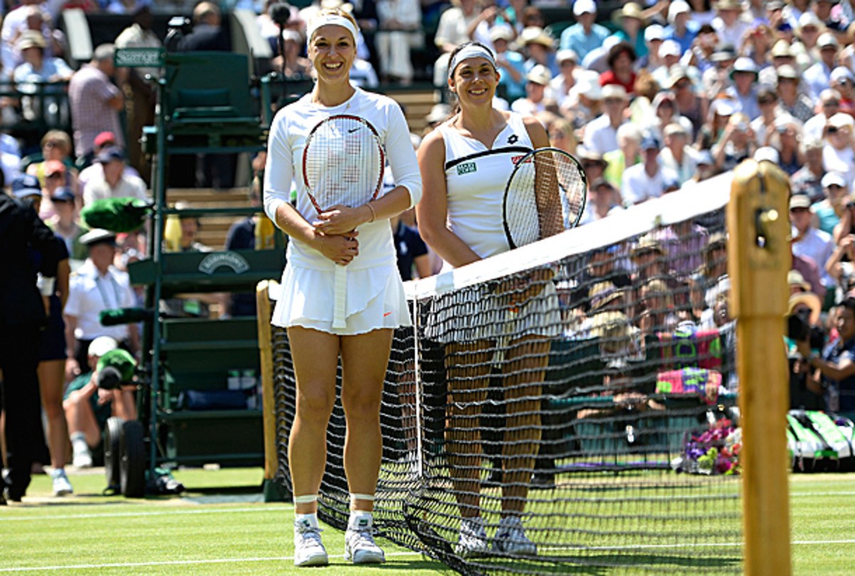 Sabine Lisicki and Marion Bartoli pose before the start of the ladies' final. (Dennis Grombkowski/Getty Images)