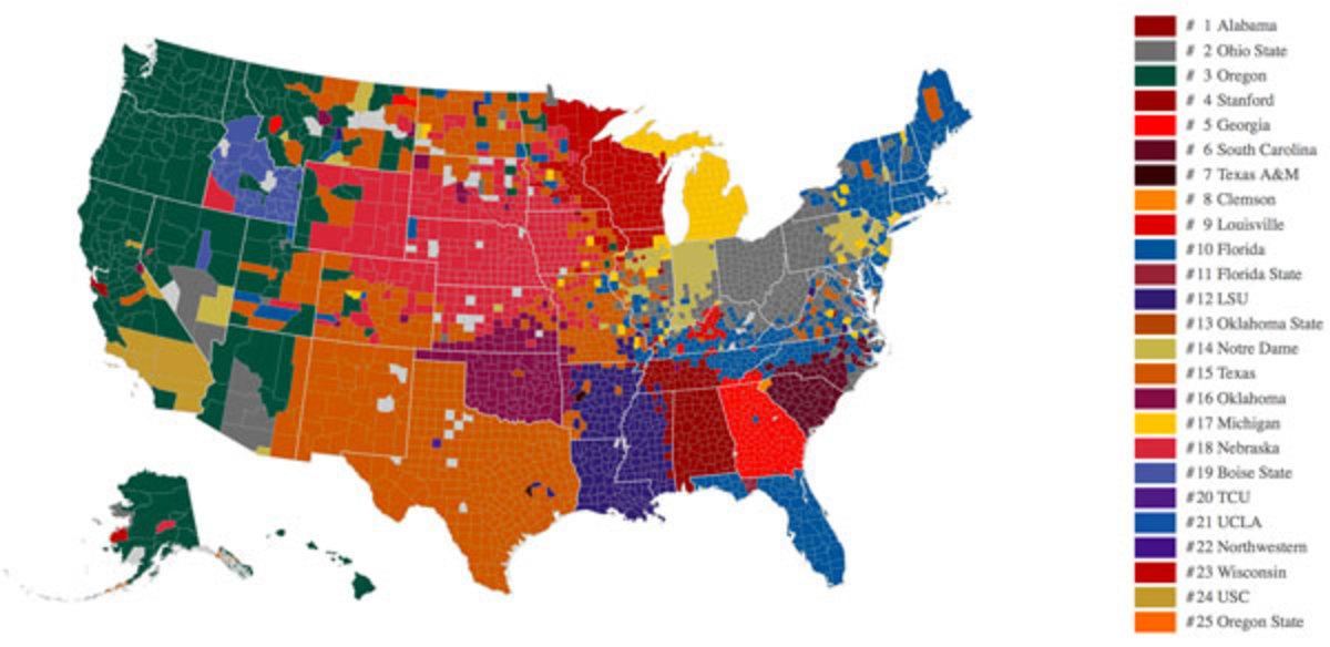 College fan map