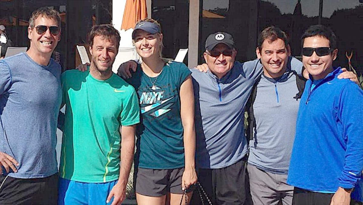 Sven Groeneveld (far left) previously worked with Monica Seles, Mary Pierce, Ana Ivanovic, and Caroline Wozniacki. (Photo from Facebook)