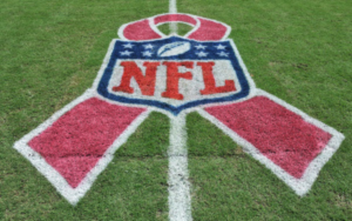 Less than 10 percent of the overall sales from pink NFL merchandise actually goes toward cancer research, according to a recent report. (Al Messerschmidt/Getty Images)