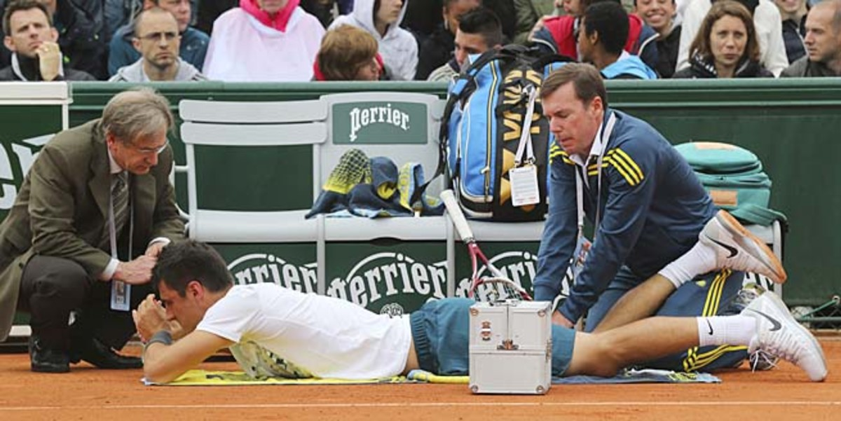Bernard Tomic took a medical timeout in the first set, then retired in the third.