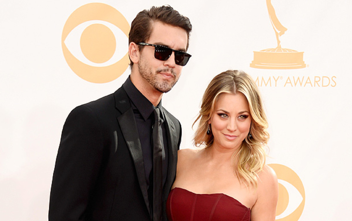 Ryan Sweeting and Kaley Cuoco hit the red carpet before the Emmys. (Frazer Harrison/Getty Images)