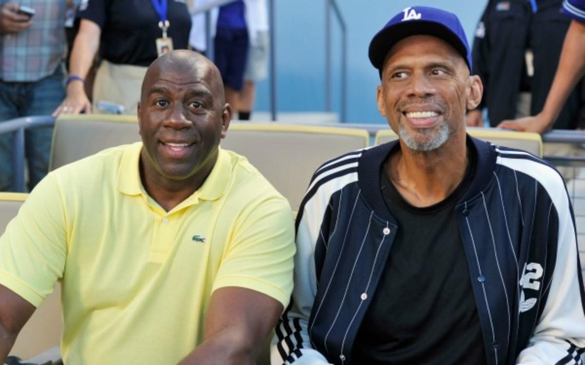 Magic Johnson and Kareem Abdul-Jabarr won ?? titles as Lakers. (Mark Sullivan/Getty Images)