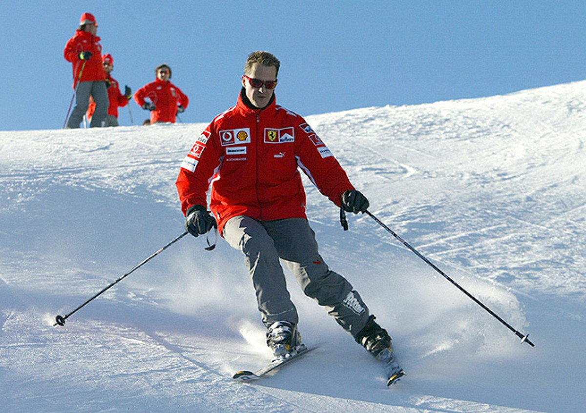 Michael Schumacher, seen here skiing in 2005, suffered a head injury after a fall in the French Alps.