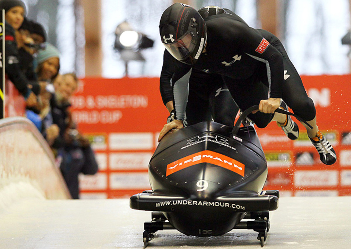 Steven Holcomb (front) will benefit from the brand new sled compliments of Geoff Bodine.