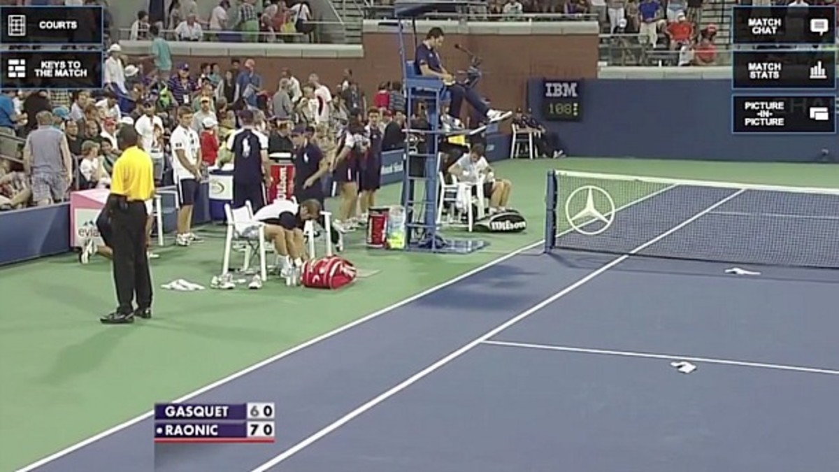 Richard Gasquet got a little frustrated. (Screencap via YouTube)