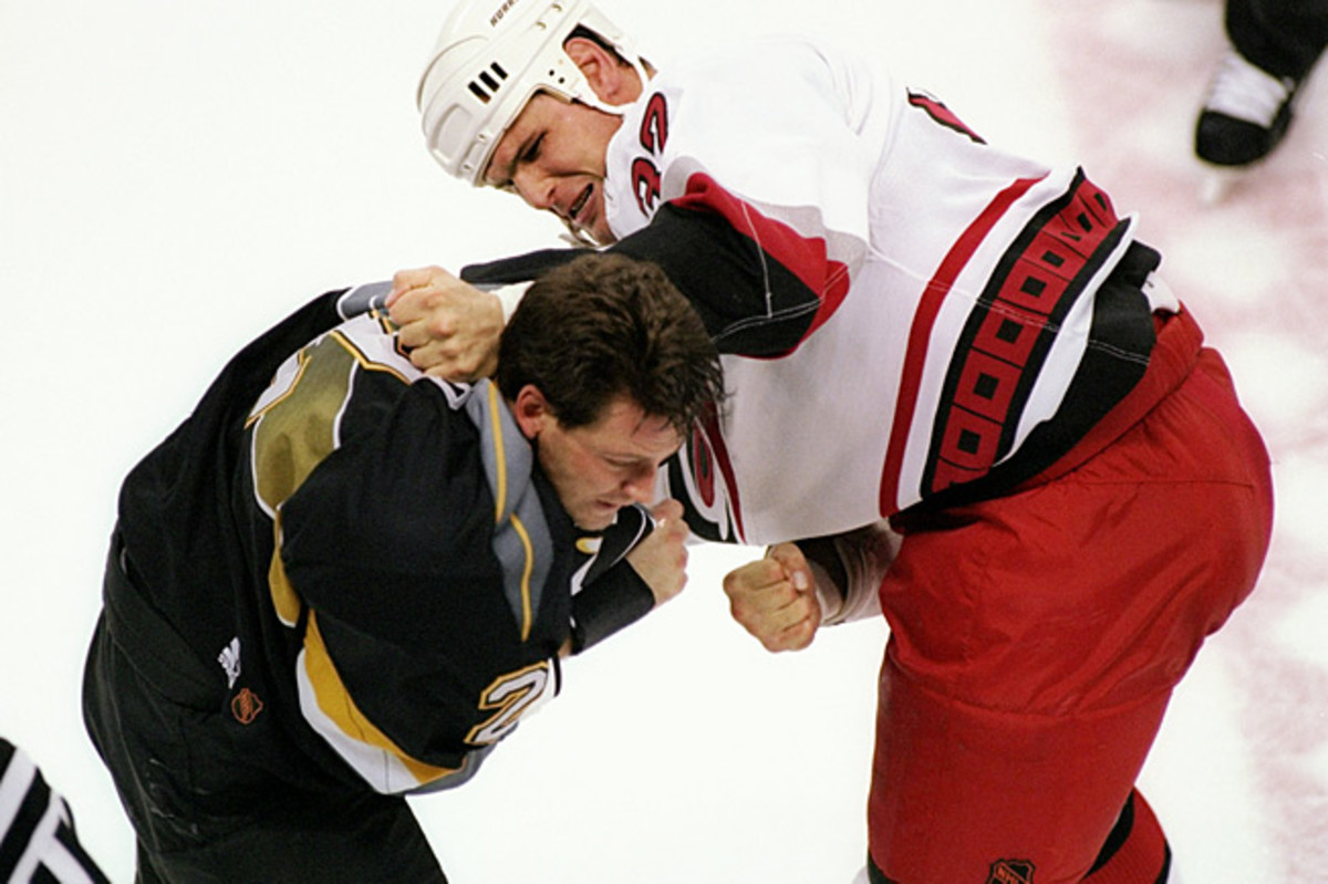 Former enforcer Stu Grimson (32) says fighters are well aware of the risks inherent in what they do.