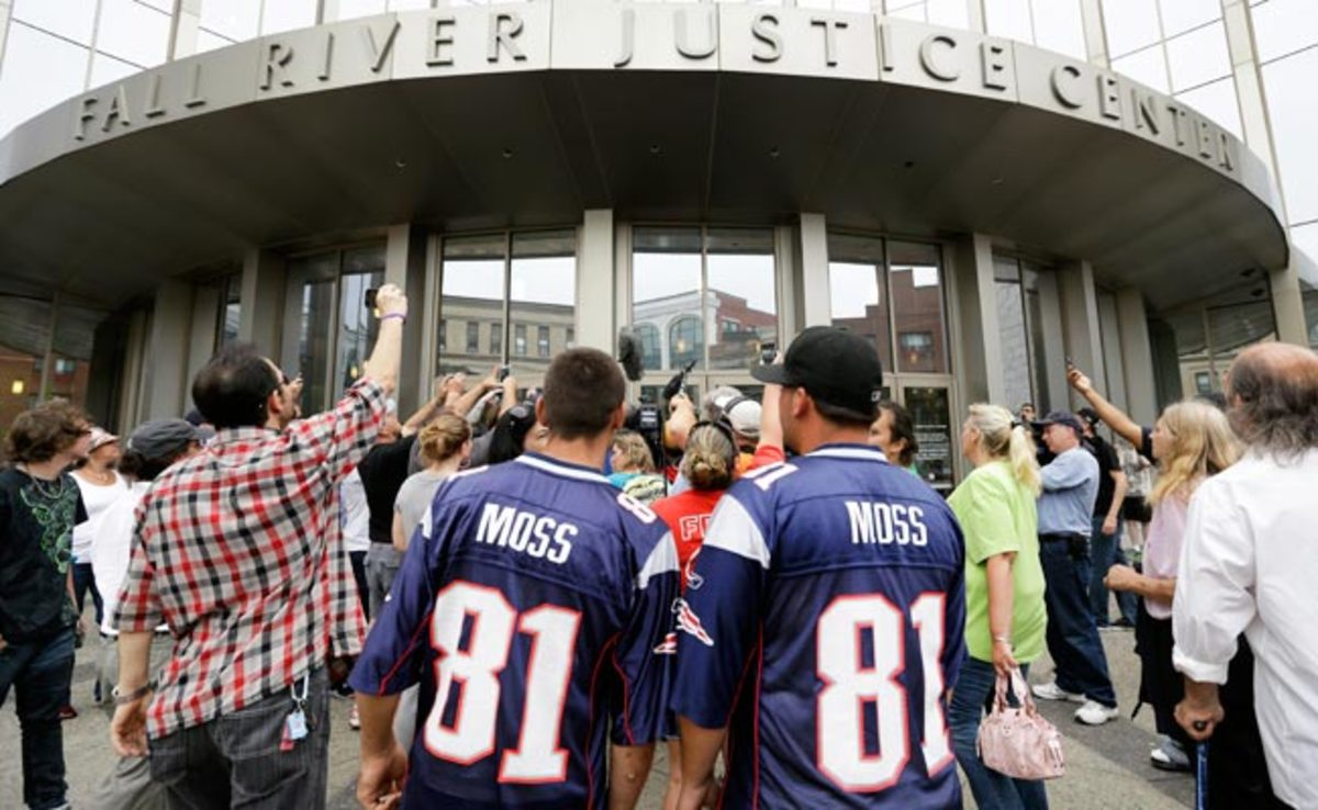 A crowd surrounds the entrance to the Fall River Justice Center in Massachusetts on Thursday.