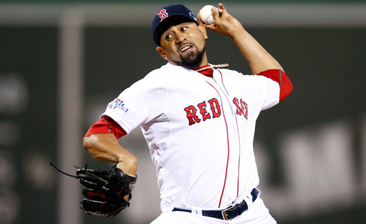 Franklin Morales made three postseason appearances for the Red Sox en route to the 2013 World Series championship.