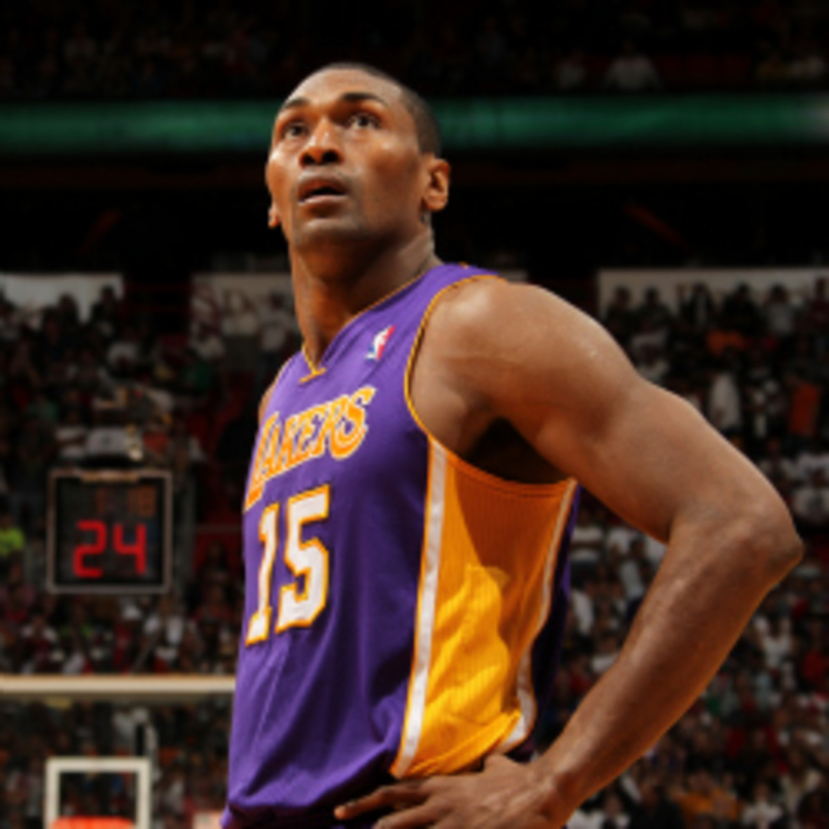 Metta World Peace had police swarm his condo when actors in his movie were rehearsing a scene with fake guns. (Issac Baldizon/Getty Images)