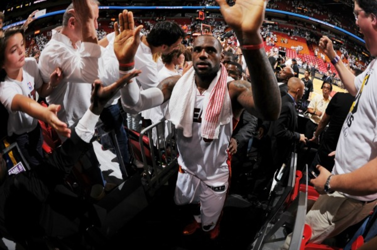 The Timberwolves are selling fan tunnell tickets to high-five thhe Heat. (Andrew D. Bernstein/NBAE via Getty Images)