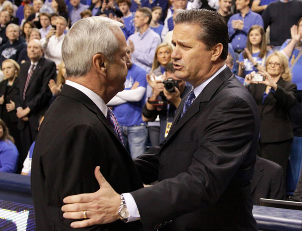 Roy Williams (left) and UNC will renew their series with John Calipari and Kentucky next season.