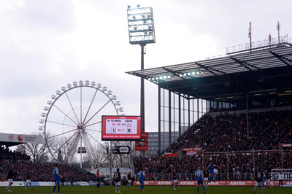 St. Pauli plays at Millerntor Stadium in Hamburg, Germany.