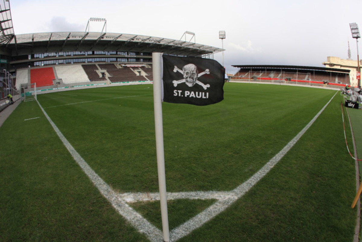 Corner flags at St. Pauli's Millerntor Stadium are marked with a skull and crossbones, paying homage to Hamburg's pirate history and acting as a symbol for the port city leftist district's people.