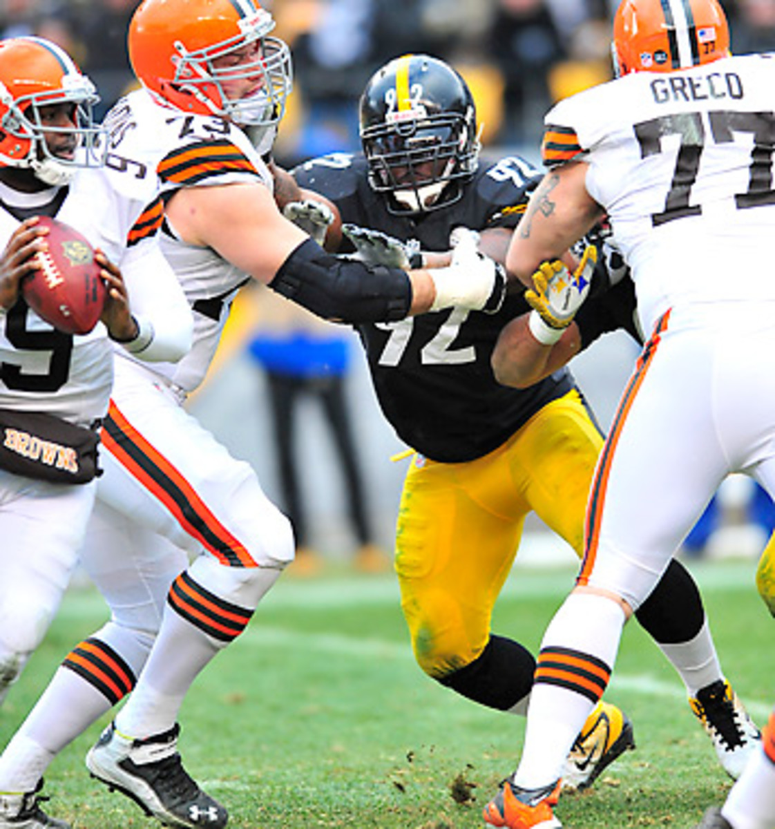 James Harrison averaged over 12 sacks a season from 2008-2010, but just 7.5 over the last two seasons. (David Dermer/Getty Images)