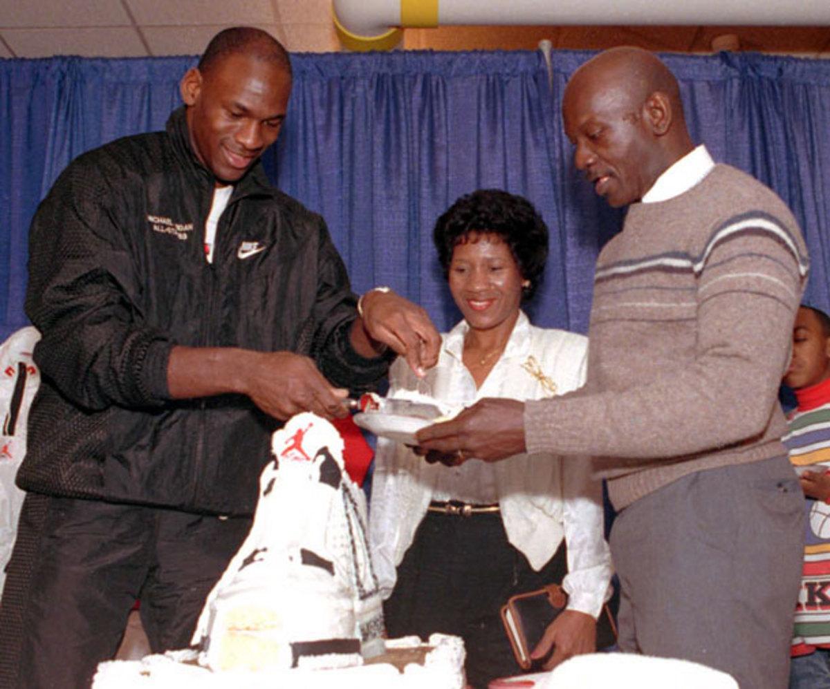Michael Jordan cuts a Jordan cake
