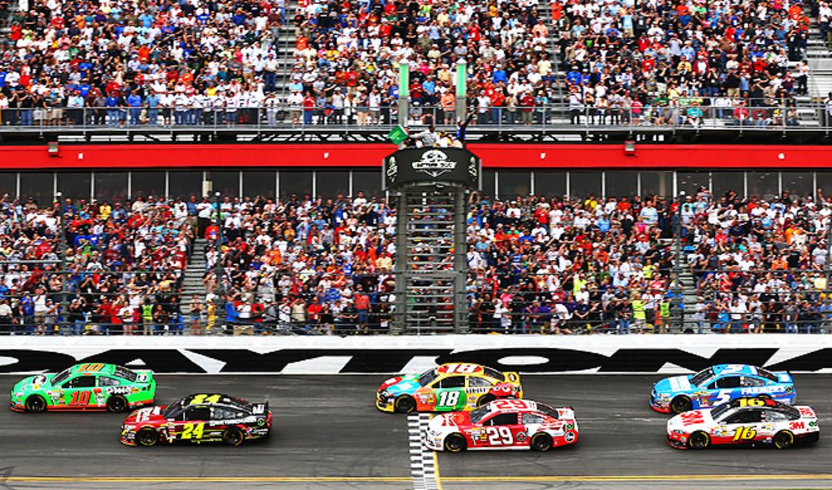 Danica Patrick (No. 10) helped increase the 2013 Daytona 500's preliminary television ratings.