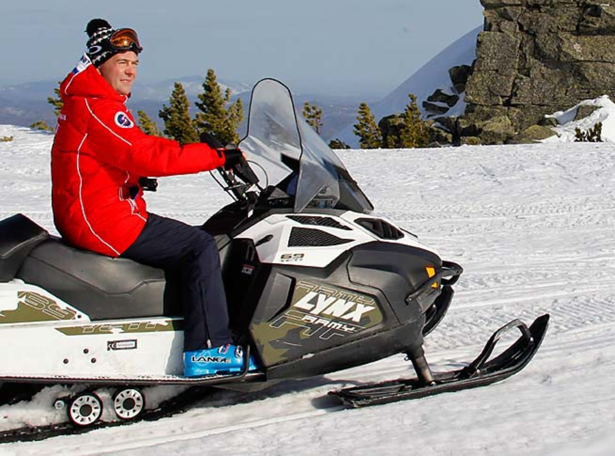 Russian Prime Minister Dmitry Medvedev rides a snowmobile at Sheregesh ski resort in the Kemerovo region.