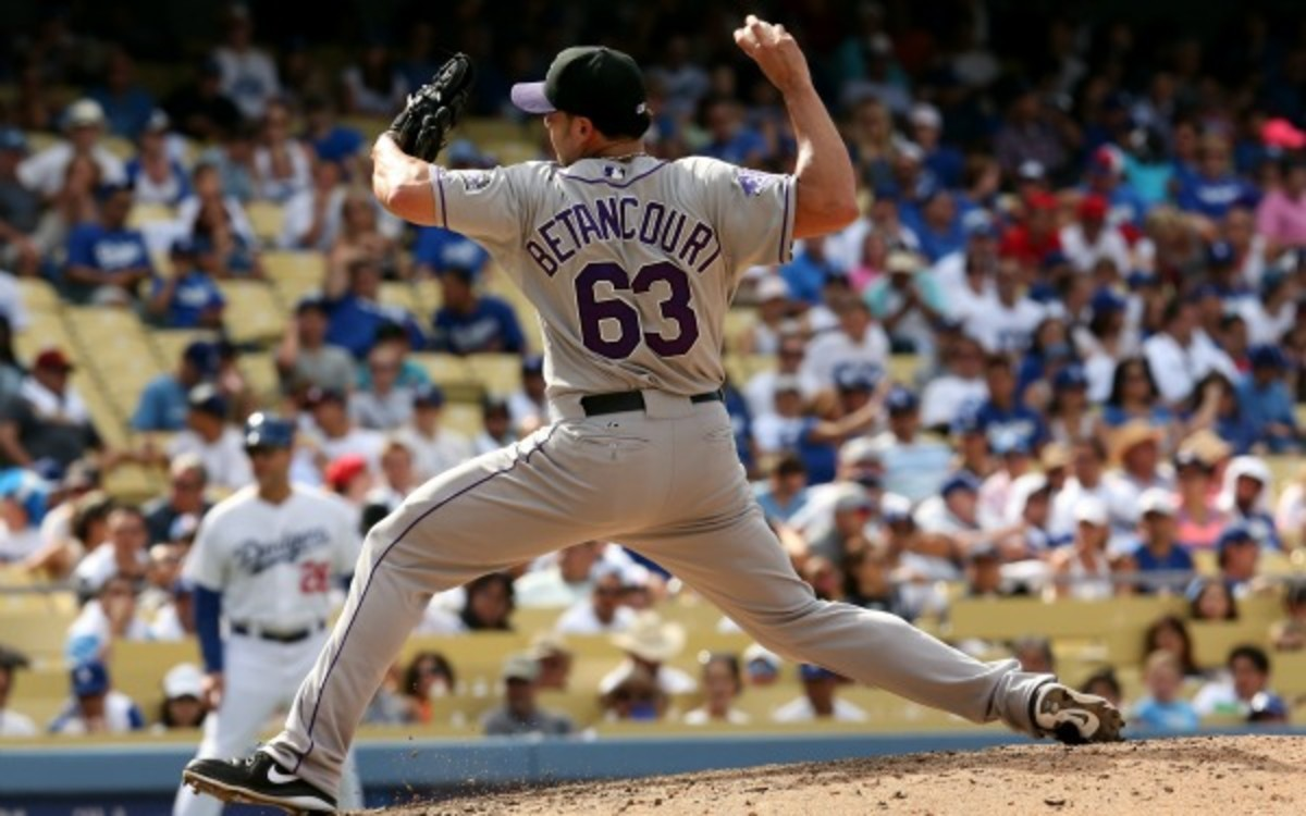 Rafael Betancourt will miss up to three weeks recovering from an appendectomy. (Stephen Dunn/Getty Images)