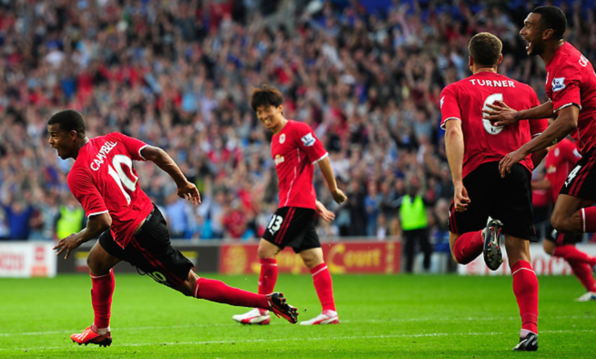 Cardiff City's Frazier Campbell celebrates one of his two goals during his team's 3-2 win.