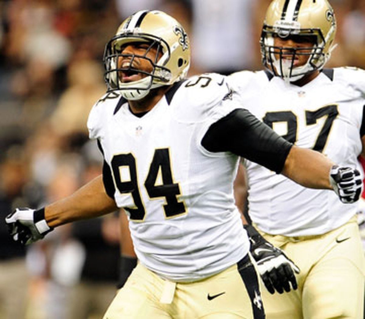 Cameron Jordan is tied for ninth in the NFL with three sacks. (Stacy Revere/Getty Images)
