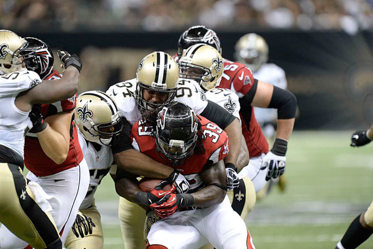 Cameron Jordan (94) and the Saints held Atlanta to 88 rushing yards in the opener; overall New Orleans is fourth in the league in total defense. (Greg Nelson/Sports Illustrated)