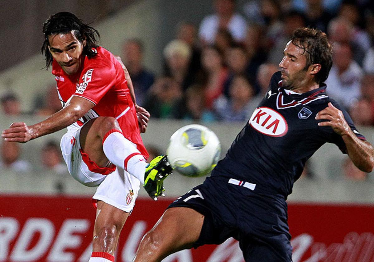 Radamel Falcao (left) scored late in Monaco's season-opening victory over Bordeaux.
