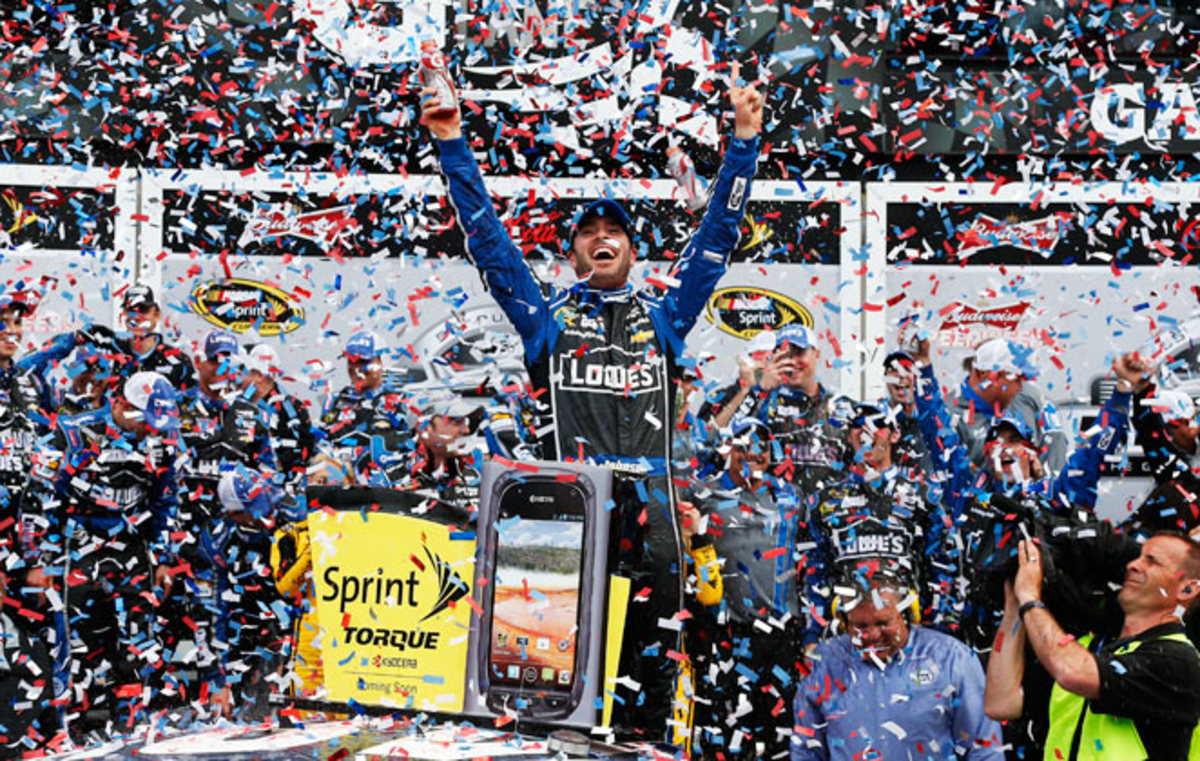 Jimmie Johnson held on to claim the second Daytona 500 victory of his career on Sunday.