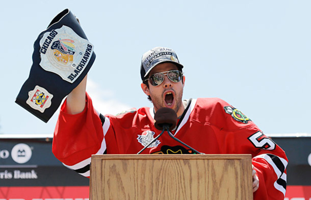 Corey Crawford unleashed a profane speech at the Blackhawks Stanley Cup parade.