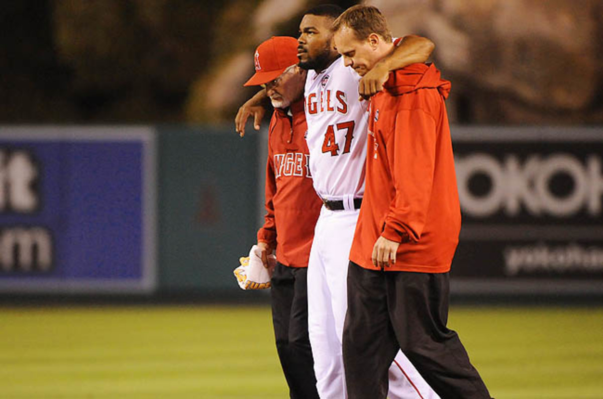 Kendrick was helped off the field after being hurt chasing a popup Monday against Texas.