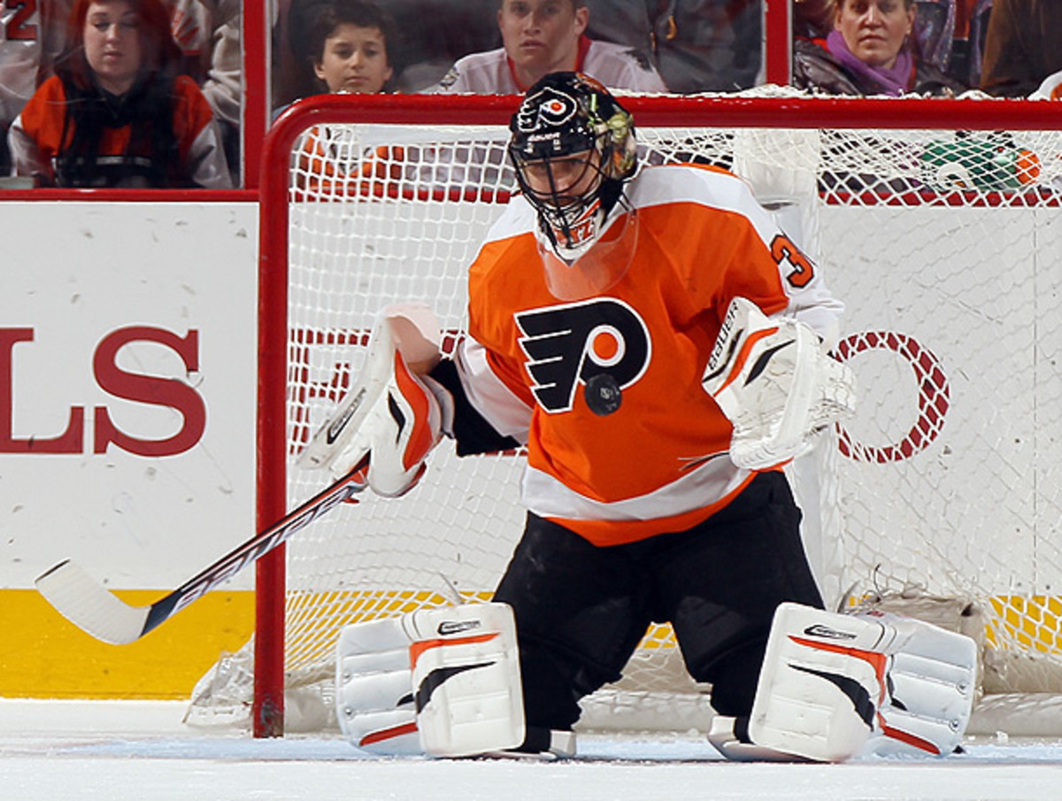 During his ten years in the NHL, Ilya Bryzgalov has played for the Ducks, Coyotes and Flyers. (Elsa/Getty Images)