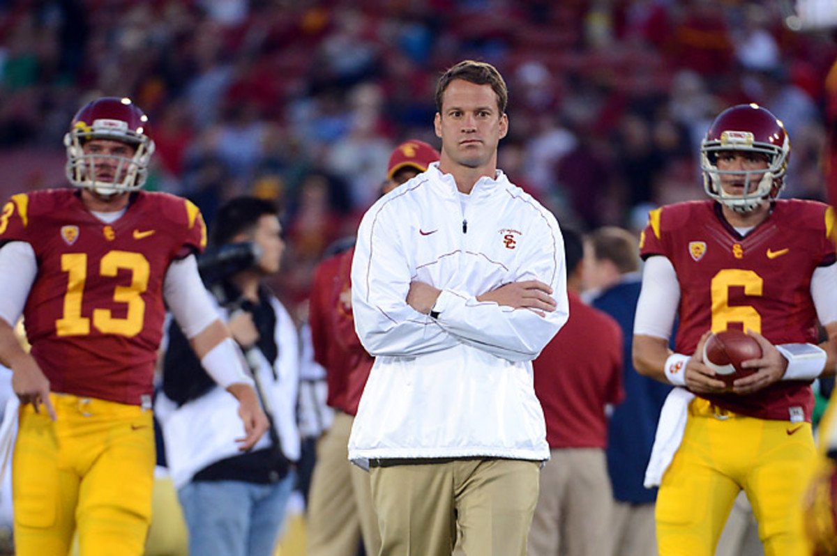 Max Wittek (L), started two games for USC last season, while Cody Kessler (R), had a strong training camp.