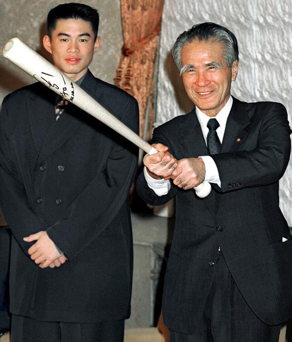 Ichiro Suzuki and Japan's Prime Minister Tomiichi Murayama